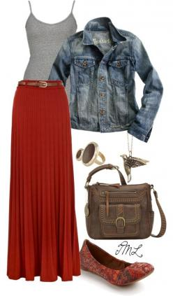 """""""Warmer days ahead."""" by tmlstyle on Polyvore: Red Maxi Skirts, Pleated Maxi Skirt, Ahead Fashion, Red Maxi Skirt Outfit, Red Outfit, Fall Red, Red Maxi Dress, Red Skirts"""