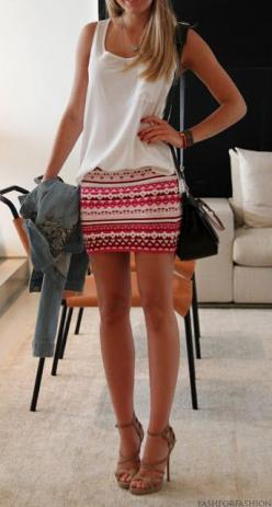 bright printed skirt & nude heels: Summer Outfit, Loose Top, Clothess, White Top