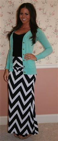 Chevron Maxi Skirt- MORE COLORS  Kinda really need this outfit: Maxi Dresses, Maxi Outfit, Black And White Maxi Skirt, Chevron Maxi Skirts, White Chevron, Teaching Outfit, Maxi Skirt Outfit, Skirt Outfits