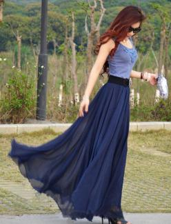 Chiffon Maxi Skirt-Spring Long Skirt Maxi Dress Women Silk Skirt Summer Beach Skirt In Dark Blue-WH103 ,105cm: Maxi Dresses, Chiffon Skirt, Silk Skirt, Chiffon Maxi Skirt, Blue Maxi, Maxi Skirts