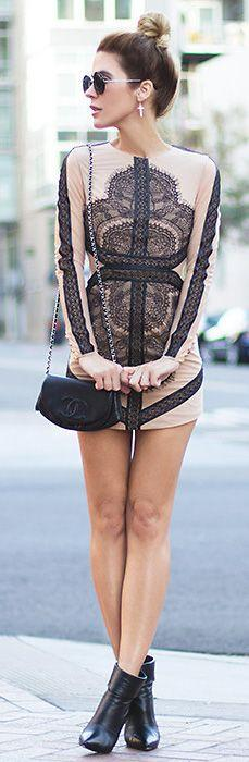 Cool Stuff We Like Here @ CoolPile.com ------- << Original Comment >> ------- lace dress: Black Lace, Mesh Dress, Fashion Style, Style Inspiration, Dream Closet, Street Style, Nude Dress