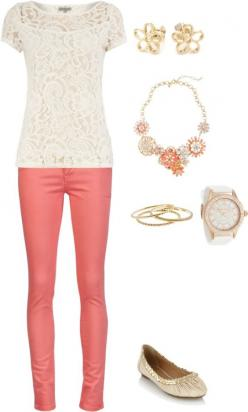 coral and lace. yes.  Only the pants are a little tight but other then that I love: Springtime Outfit, Casual Outfit, Summer Outfit, Coral Pant, Dream Closet, Lace Top, Spring Outfit