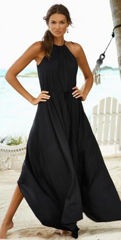 Cruise dress / resort fashion 2015 / Lady in black..: Maxi Summer Dress, Summer Maxi Dress, Black Maxi Dress, Long Summer Dress, Black Summer Dress, Cruise Outfit, Beach Resort Outfit, Black Dress