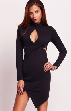 Cut it out! This Black Long Sleeve Cut Out Asymmetrical Dress features a sexy keyhole front design, full length sleeves, side cut outs, and an asymmetrical hemline. Pair with strappy single sole stilettos for an unforgettable look!: Chic Styles, Black Lon