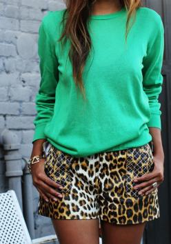 Don't be afraid to pair bold colors with leopard. No need for black and white, use hot pink, orange, cobalt, and emerald (pictured here) to keep animal print from looking too dressed up.: Green Top, Spring Summer, Animal Prints, Leopard Prints, Leopar