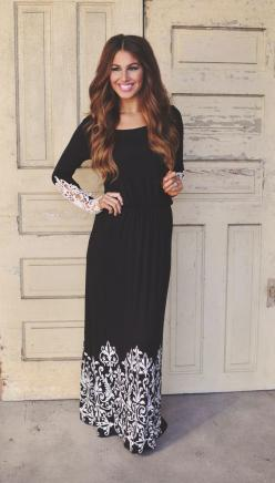 Dottie Couture Boutique - Crochet Sleeve Maxi , $42.00 (http://www.dottiecouture.com/crochet-sleeve-maxi/): Christian Modest Fashion, Modest Dresses, Black Maxidress, Bridesmaid Dresses, Black Modest Dress, Modesty Christian, Black Maxi Dresses, Modesty F