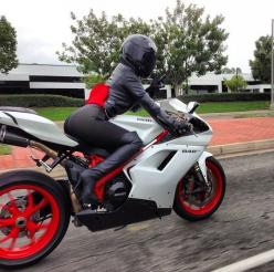 Ducati 848 Evo...It probably would not hurt my feelings to not be in the lead on this ride..: Biker Chick, Biker Girl, Cars Bikes, Bikergirl