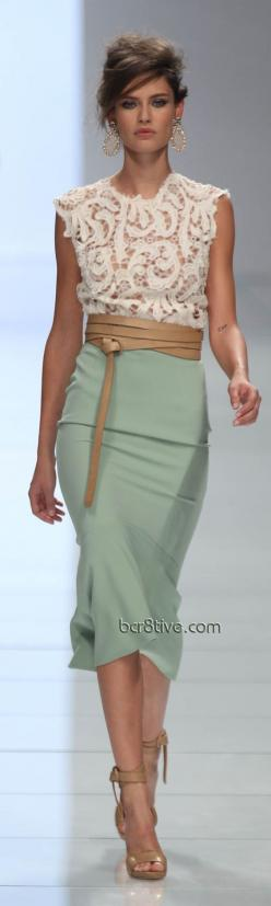 Ermanno Scervino love the mint and nude and guess what?  The CAbi Spring 2013 line includes these minty fresh ideas - the New Pencil Skirt in Jordan Almond and the Front and Center too.: Classy Dress, Lace Top, Nude Dress, Jordan Almond, Cream Lace Dress