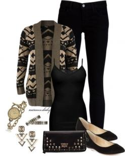 Fashion Worship | Women apparel from fashion designers and fashion design schools: Black Outfit, Winter Outfits, Comfortable Work Outfit, Aztec Sweater, Fall Winter, Aztec Cardigan Outfit, Everyday Outfit, Cardigan Outfits