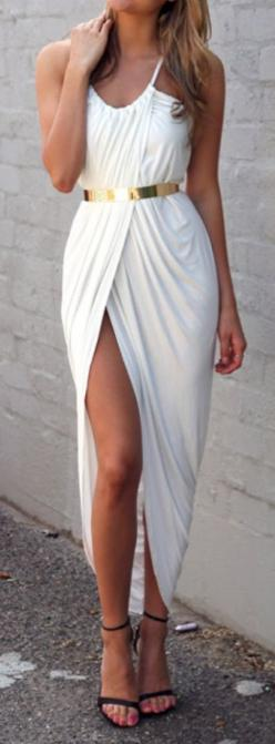 Greek toga style maxi dress. Would look great on Emily Van Camp a.k.a. Emily Thorn in Revenge! find more women fashion on http://misspool.com find more women fashion on www.misspool.com: Gold Belts, Dream Closet, Outfit, Maxidress, White Dress, White Maxi