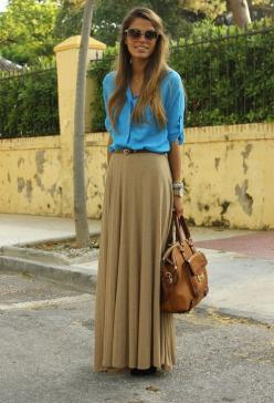 I don't usually go for really long skirts but I kinda like the way this one is worn!: Button Up, Dream Closet, Street Style, Spring Summer, Maxiskirt, Long Skirts, Spring Outfit, Maxi Skirts