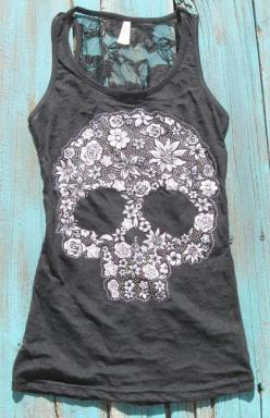 It's out of stock, but I will have this. Sugar Skull Tank Top https://www.elusivecowgirl.com/catalog/tanks-tunics/sugar-skull-tank-top: Lace Tank Top, Skull Tattoo, Tank Tops, Skull Tank, Flower Skull, Lace Skull, Sugar Skulls