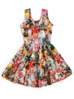 Kitty Garden Party Print Fit and Flare Dress: Cat Fashion, Sexy Dresses, Cat Clothing, 2015 Q4 Styleboard, Garden Parties, Cat Style