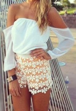 Lace flower shorts and im in love with these tops!: Summer Fashion, Summer Style, Dream Closet, Spring Summer, Summer Outfits, Shoulder Top, Lace Shorts, Summer Clothes, Shirt