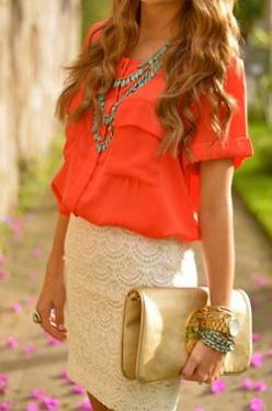 lace skirt, bright top: Coral Lace, Orange Blouse, Color Combos, Dream Closet, Spring Summer, Lace Skirt, Coral Top, My Style