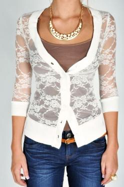 Lacey Cardigan - White. Cute: Dream Closet, Lacey Cardigan, Clothesss, Cardigan Pretty, Lace Sweater, Lace Cardigan, I D Wear