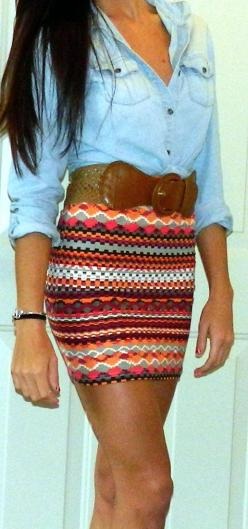 Love!: Dream Closet, Aztec Skirt, Chambray Shirts, Denim Shirts, Denim Tribal, Patterned Skirt
