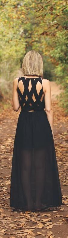 love her hair and that Black crossed-back maxi dress: Long Black Dresses, And Dresses, Beautiful Maxi, Hair Cut, Black Maxi Skirt, Black Maxi Dresses, Black Crossed, Back Details