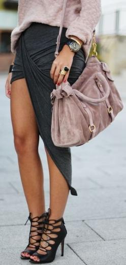 love this wrapped asymetric skirt: Wrap Skirts, Purse, Fashion Style, Asymmetrical Skirt, Dream Closet, Street Style, Spring Summer, Outfit