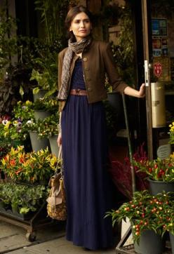 Maxi dress transitions to fall: Long Dresses, Brown Jacket, Navy Dress, Dress Jackets, Fall Outfit, Navy Maxi Dresses, Fall Maxi Dresses