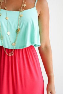 Mint, coral & gold i have this dress and i love it: Summer Outfit, Color Combos, Dream Closet, Bright Colors, Color Combination, Crop Top