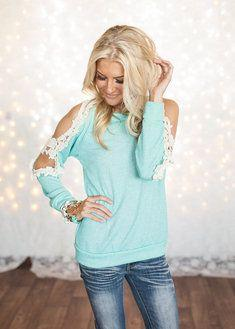 Modern Vintage Boutique - light teal top with lace and holes on the sleeves. :) <3                    SUPER CUTE!!!!!!: Teal Outfit, Open Shoulder Top, Lace Top, Cute Top, Cute Outfit, Lace Outfit, Mint Top