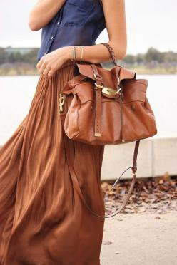 navy and dark caramel....: Fashion Style, Purse, Color Combos, Maxiskirt, Long Skirts, Leather Tote, Brown Maxi Skirts
