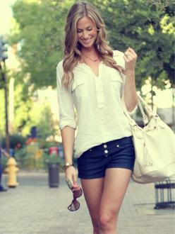 Perfect summer outfit: Jean Shorts, Summer Fashion, Summer Style, Dream Closet, White Shirts, Spring Summer, Cute Summer Outfits, White Top