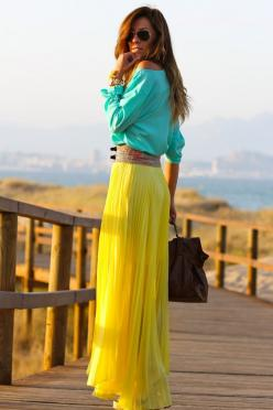 Summer's gonna come sooner or later! Better get ready by wishing that this was in my closet!: Bright Color, Summer Color, Maxiskirt, Color Combination