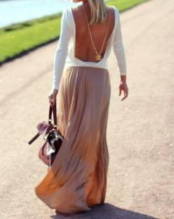 summer: Backless Shirt, Fashion Style, Back Necklace, Chanel Necklace, Backless Top, Open Backs, Maxi Skirts