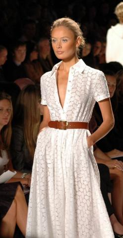 Summer style- White eyelet partial button front belt with shirt collar, side seam pockets, full sweep and paired with a nice   caramel structured belt.  LOVE THIS LOOK!!: Summer White, Shirtdress, Summer Dress, Michael Kors Dress