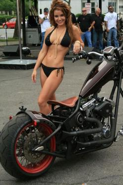 Too bad the bike isn't fitting on this picture... beautiful high neck construction, which construction can't be said of the girl.. some parts of her aren't especially symmetric: Bobber Bike, Custom Chopper, Biker Chick, Biker Girl, Motorcycle