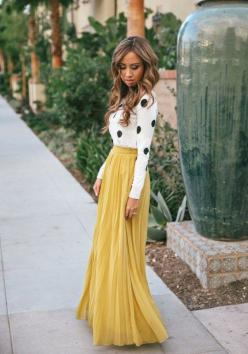 Yellow Plain Pleated Bohemian Maxi Skirt - Skirts - Bottoms: Yellow Maxi Skirts, Colors Spring, 2015 Trends, Polka Dots, Polkadot, Cute Outfits, Color Trends