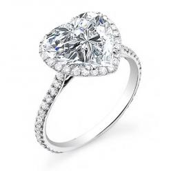 2.70 Ct. Halo Heart Brilliant Cut Diamond Engagement Ring G,VS2 GIA - Halo Heart Shape Diamond Engagement Ring