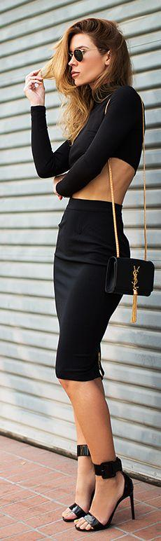 -All Black - Fitted Pencil Skirt And Cropped Top - YSL Accessories.