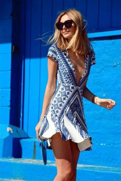 Bandana dress. florida style clothing style florida style daily streetwear vacation tropical holiday clothes: Summer Dresses, Summer Dress, Summer Outfit, Fashion Style, Summer Style, Spring Summer, Low Cut, Blue White, Blue And White