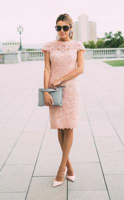 blush lace dress | perfect for summer weddings or mother of the bride: Summer Wedding Outfit, Mother Of The Bride Dress, Blush Pink Dress, Mother Of The Bride Outfit, Pink Outfit, Blush Lace Dress, Lace Outfit, Mother Of Bride Dress