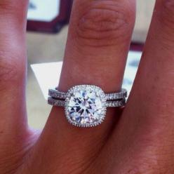 Capri Jewelers Arizona ~ www.caprijewelersaz.com  My ideal style of engagement ring and wedding band! this is beyond gorgeous!
