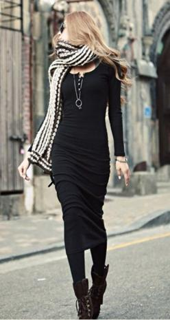 Great outfit with black midi dress - More Details → http://sherryfashiondesignblog.blogspot.com/2013/10/great-outfit-with-black-midi-dress.html.
