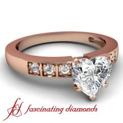 Heart Shaped Petite Diamond engagement ring in Rose Gold