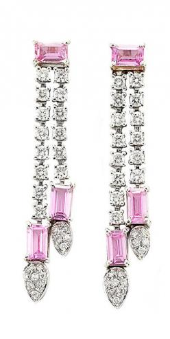 Pair of Diamond & Pink Sapphire Earrings: 44 round diamonds ap. 1.00 ct., 6 rectangular-cut pink sapphires ap. 2.50 cts.
