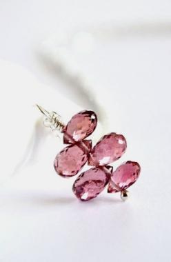 Pink sapphire necklace silver pink stone