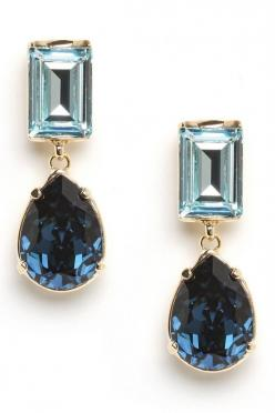 Rich blue tones and elegant mixed shapes give these sleek drop earrings their rich feel.  The ultimate piece to keep in your jewelry box, these sparklers will take you from the office to cocktails with ease.: Shape Drops, Drop Earrings, Bar Sapphire, Sapp