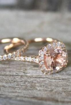Stunning Halo Diamond Rose Gold Engagement Ring Set