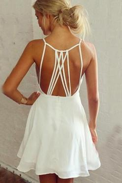 White Back Hollow-out Spaghetti Strap A-line Sleeveless Dress
