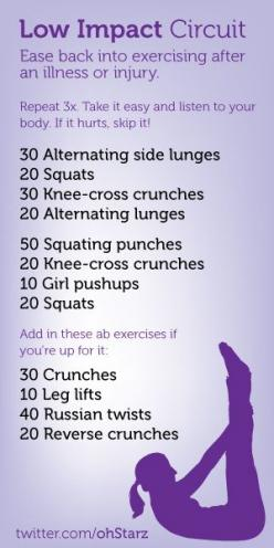 Try this low impact circuit workout when recovering from an illness or injury. I'm doing this workout today to ease back into exercise after my surgery. When recovering, listen to your body and skip it if it hurts.: Circuit Workouts, Easy Workout, Fit