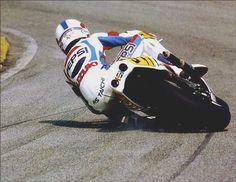 Kevin Schwantz - Suzuki GP bike at mild lean angle ; )  Marquez isn't the first to hit wicked lean angles.