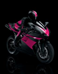 Learn how to ride a motorcycle and own a motorcycle. Also, I gotta get me a pretty hot jumpsuit! :): Pink Bike, Cars Motorcycles, Crotch Rocket, Crotchrocket, Pink Motorcycle, Girls Motorcycle