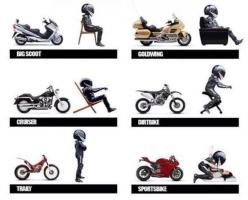 Maybe a bit of all of them... with the exception of the Big Scoot?: Motorcycles Motolife, Cars Motorcycles, Riding Position, Seating Positions, Motorcycles Life, Motorcycles Xd, Cars Bikes, Motorcycle Seating, Motorbikes Bits Bobs
