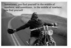 Motorcycle - sportbike - rider - quote - middle of nowhere: